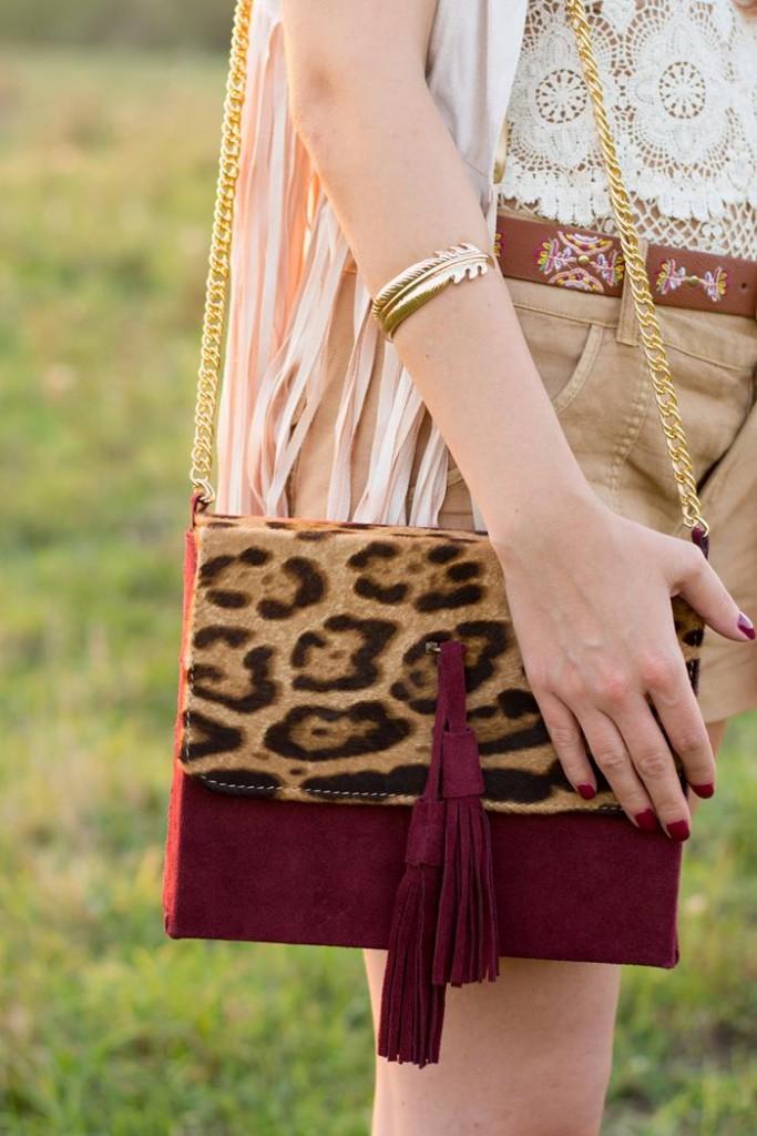 leopard burgundy bag