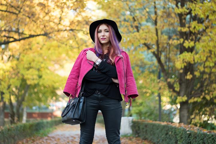 magenta suede leather jacket