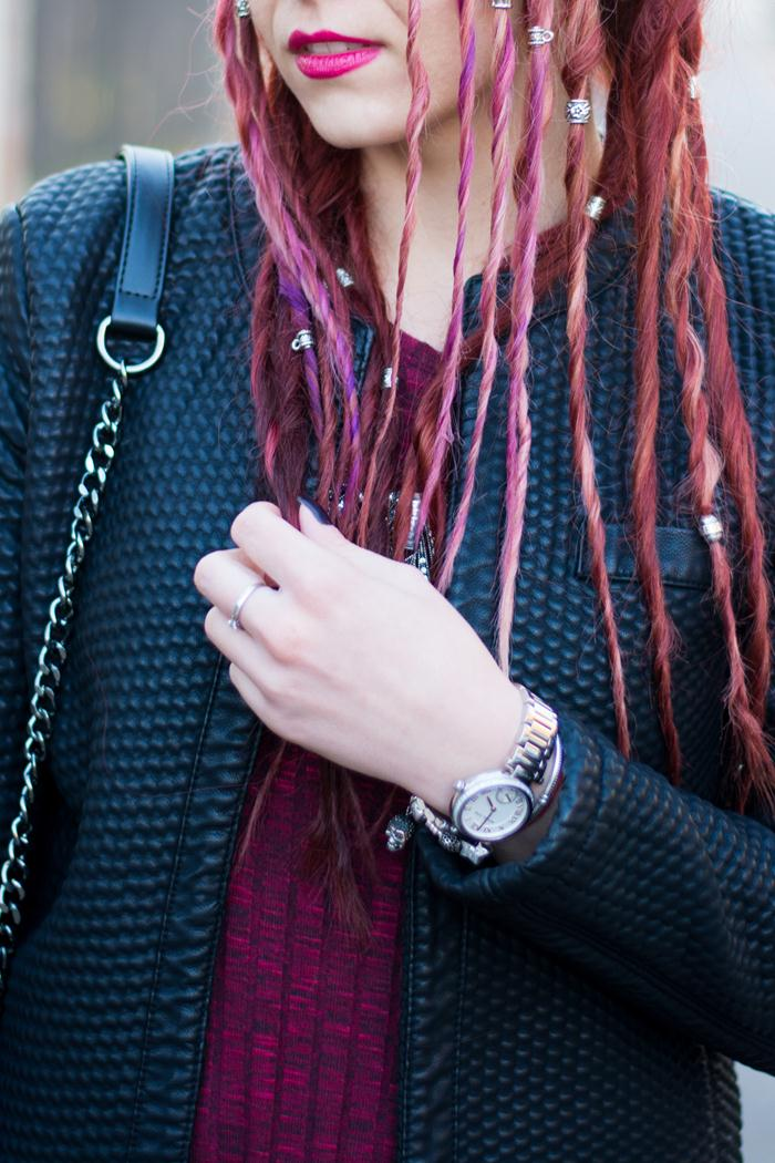 quilted jacket and silver accessories