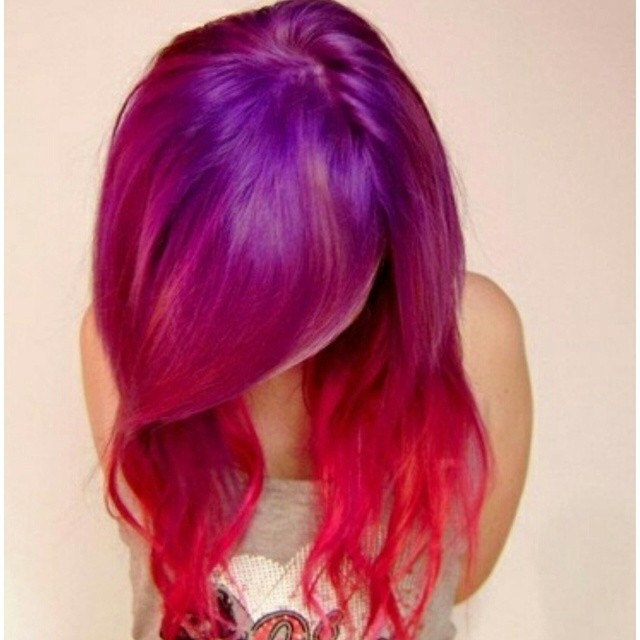 purple red hair ombre