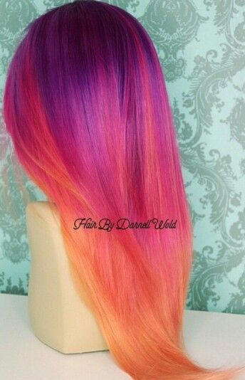 purple red orange ombre hair