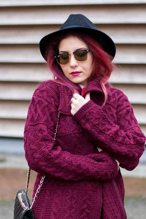 fedora hat knitted sweater