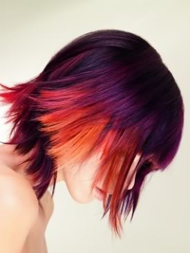 purple red orange hair