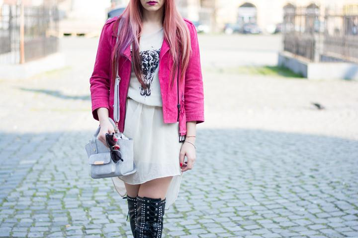 Fuchsia leather jacket