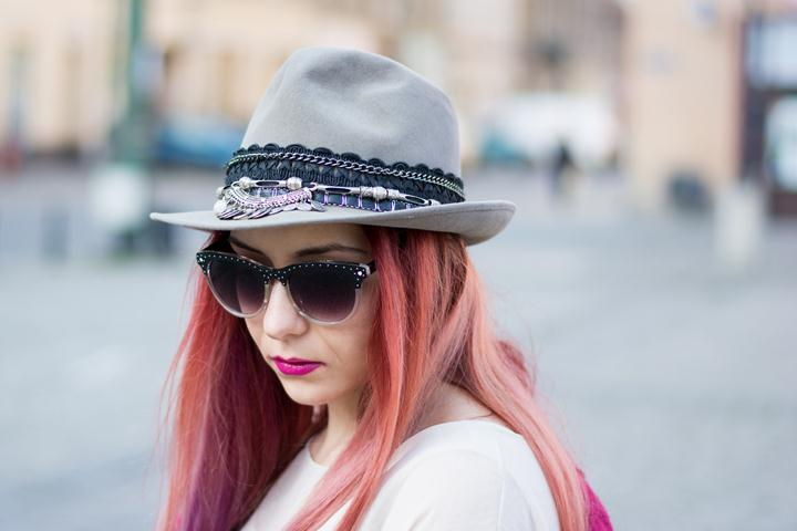 embellished grey hat
