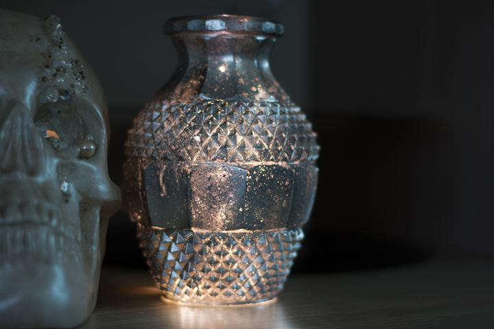 mercury glass with lilght