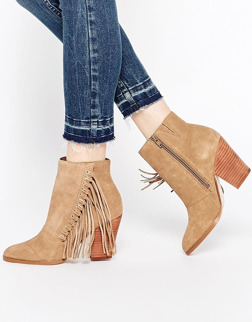 fringe suede ankle boots