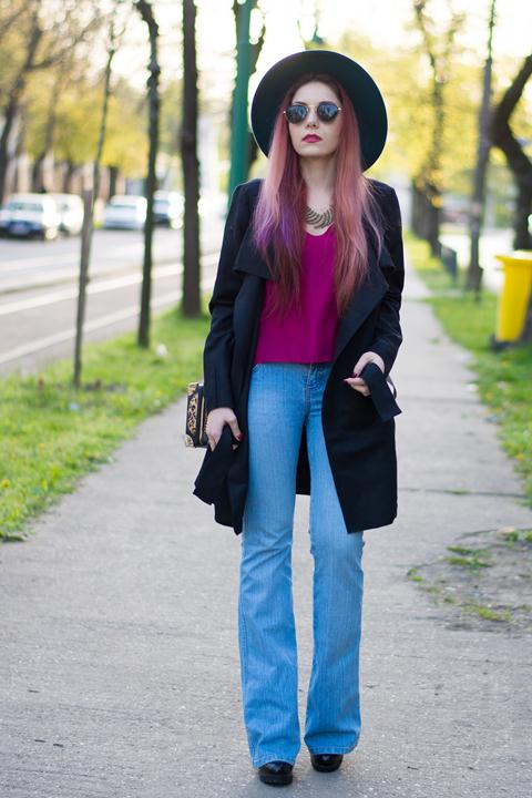 flared jeans and suede coat