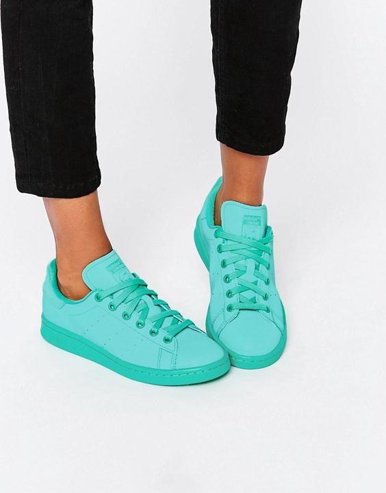 adidas color block teal sneakers