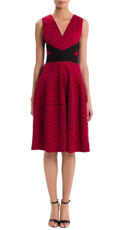 red lace dress by j mendel