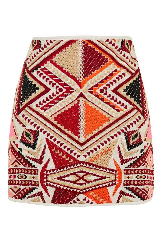 aztec printed woven skirt