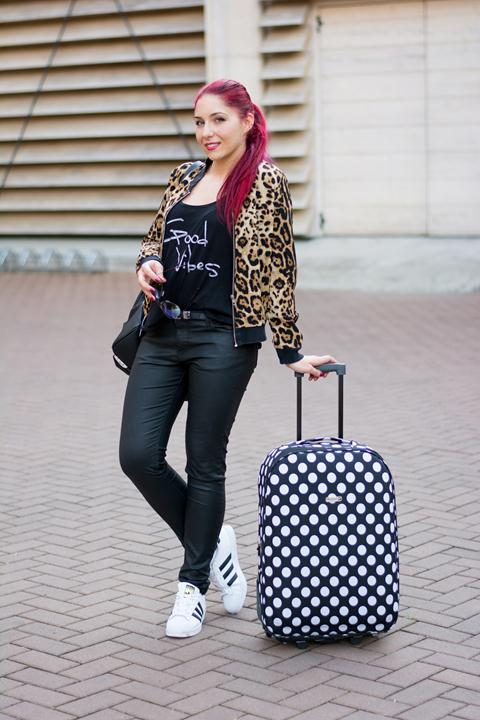 wearing leather look jeans