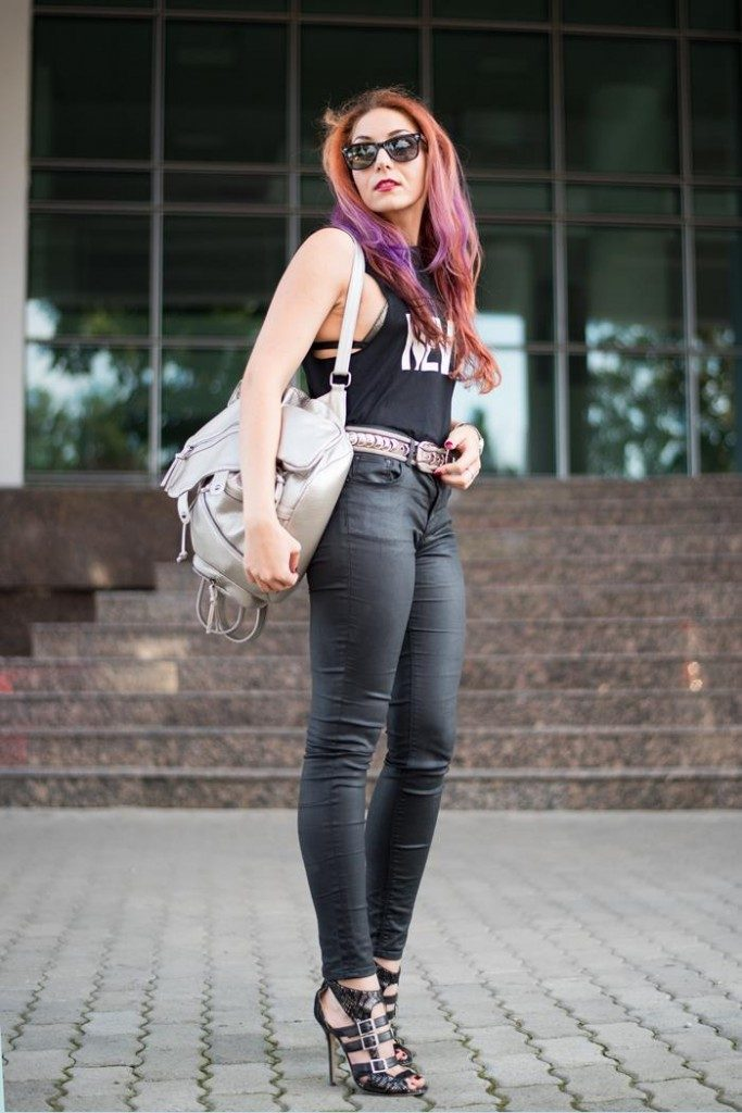 matching leather look jeans