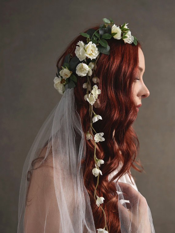 white roses headpiece for brides