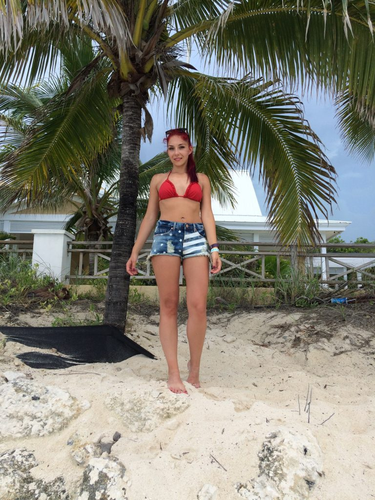 jean shorts and bikinis