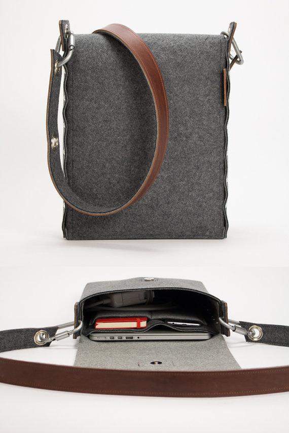 felt and leather laptop bag