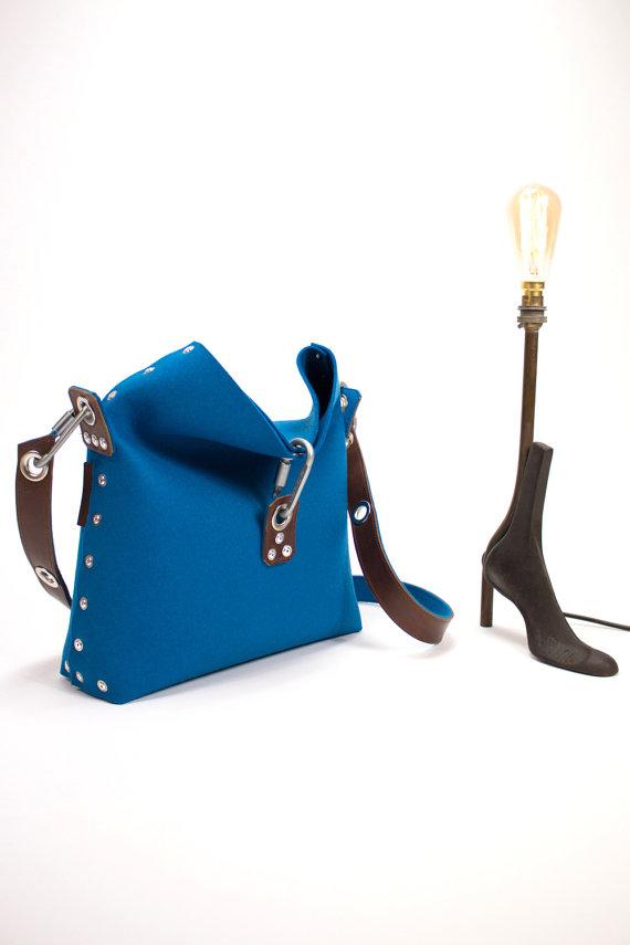 unique handmade felt leather bag