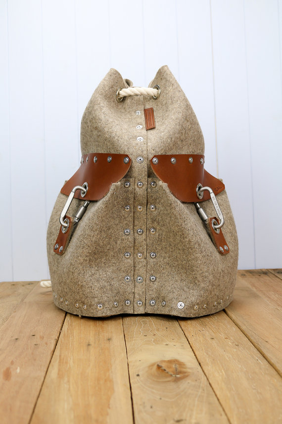 felt and leather unique backpack