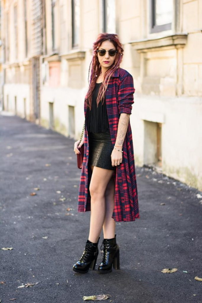 short leather skirt and tartan jacket