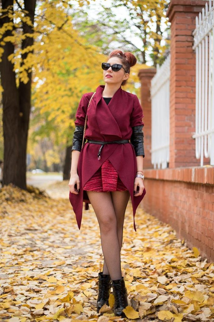 red wool jacket with leather sleeves