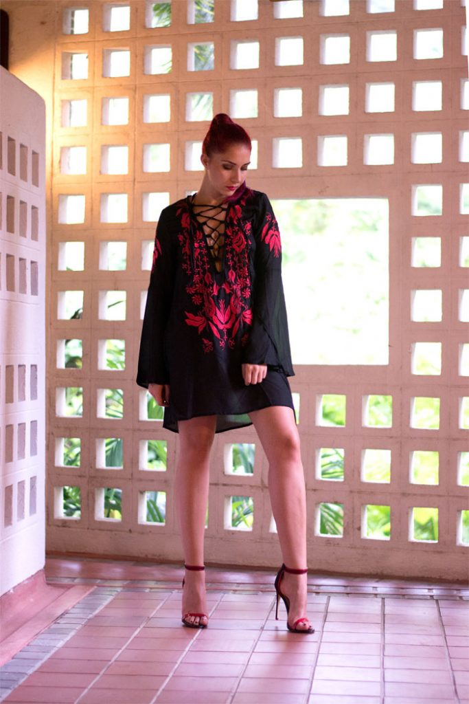 The embroidered bell sleeved dress