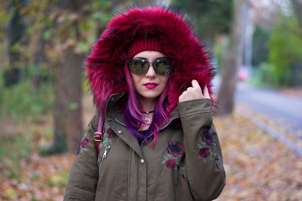 big hood red fur lined parka