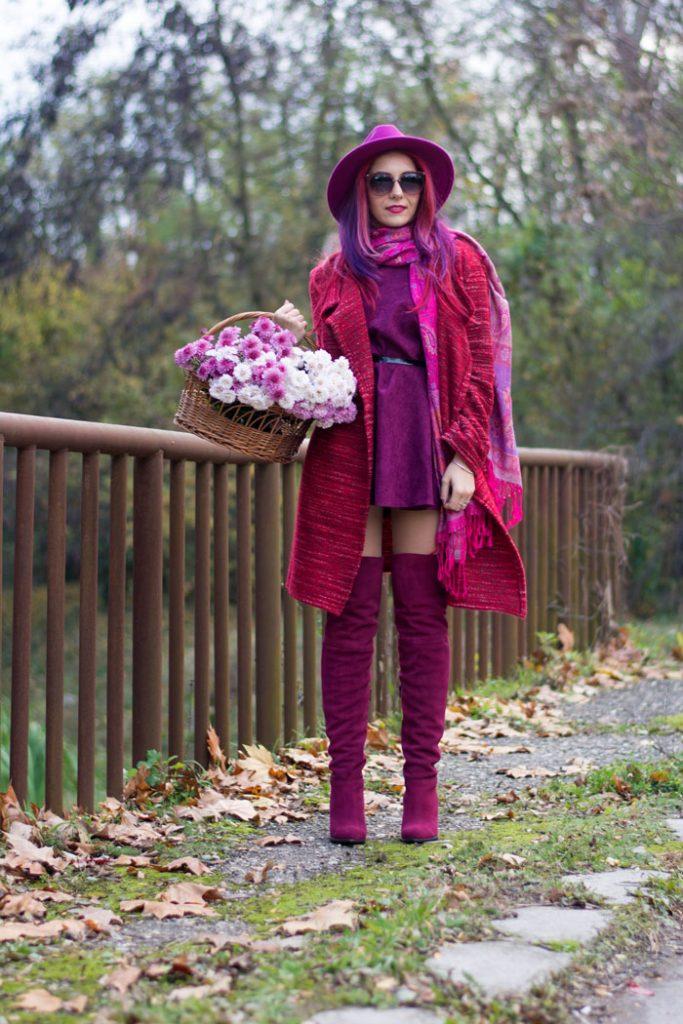 fuchsia boots and purple dress