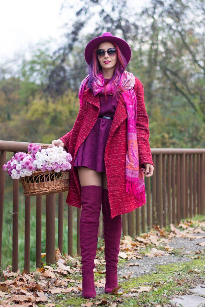 winter fashion purple dress cardigan