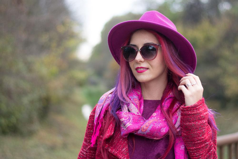 fuchsia hat and purple hair