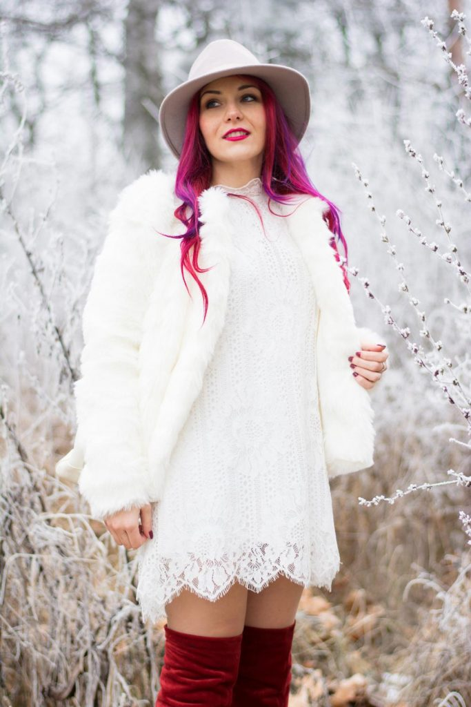 white dress with fur