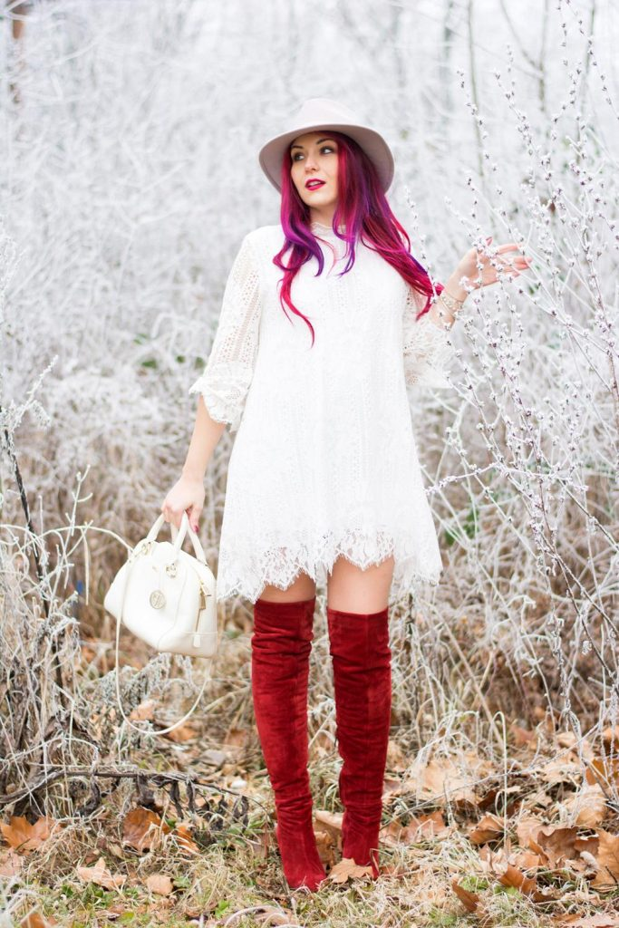 over the knee boots with lace dress